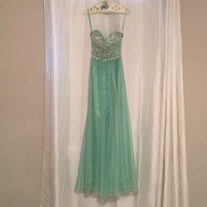 Open back, strapless sea green prom dress